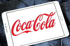 Cocacola logo. Logo of drinks company cocacola on samsung tablet Stock Photo