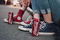 CocaCola vs. Converse. Processed with VSCO with c4 preset Royalty Free Stock Photography