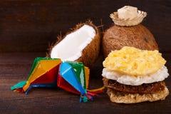 Cocada della caramella della noce di cocco Fotografie Stock Libere da Diritti