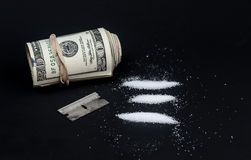 Cocaine drug addiction conceptual. Royalty Free Stock Photo