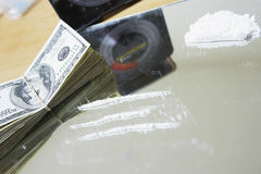 Cocaine And American Dollar Bills On Mirror Royalty Free Stock Image