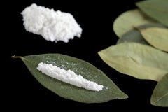 Cocaine on Coca Leaves Stock Photo