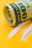 Cocaine and dollars Royalty Free Stock Image