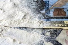 Cocaine drug powder pile along Royalty Free Stock Photo