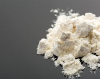 Cocaine on grey Royalty Free Stock Photos