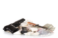 Cocaine and marijuana in packet with gun Stock Image