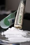 Cocaine and money Royalty Free Stock Photos