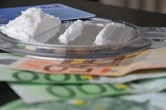 Cocaine and money Royalty Free Stock Images
