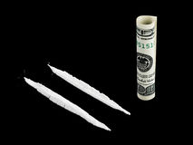 Cocaine and money Stock Photos