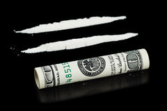Cocaine and money Stock Images