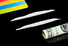 Cocaine, money and plastic card Stock Photos