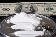 Cocaine and one hundred dollar Royalty Free Stock Image