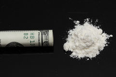 Cocaine and one hundred dollars Stock Photography