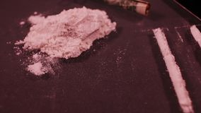 Cocaine road, cash and card stock footage