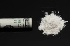 Cocaína y cientos dólares Fotografía de archivo
