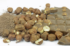 Cocao instant chocolate and hazelnuts Stock Images