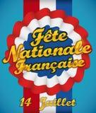 Cocarde avec le ruban et message de salutation pour le jour national français, illustration de vecteur Photo stock