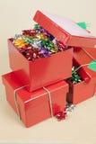 Coccarde di Natale in una scatola Fotografie Stock
