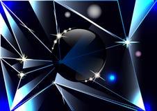 Cocci triangolari di vetro scuro, prismi, palla di vetro, fondo astratto illustrazione vettoriale