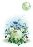 Coccinella, farfalla e globo Immagini Stock Libere da Diritti