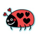 Coccinella rossa di amore del biglietto di S. Valentino con i pois del cuore Fotografie Stock Libere da Diritti