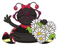 Coccinelle avec beaucoup de fleurs dans des ses pattes illustration stock
