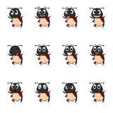Coccinelle avec différentes expressions du visage et couleur différente illustration de vecteur