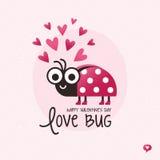 Coccinelle mignonne d'insecte d'amour de carte de jour de valentines Image libre de droits