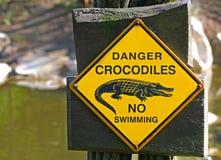 Coccodrilli del pericolo nessun nuoto Immagini Stock Libere da Diritti