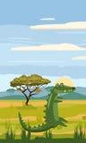 Coccodrillo sui precedenti del paesaggio africano, savanna Fotografie Stock