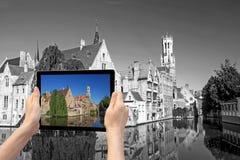 Cocept monochromatique de voyage (Bruges) Photos stock