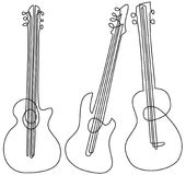 Abstract guitar one line drawing Royalty Free Stock Photos