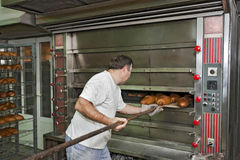 Cocer al horno un pan Fotos de archivo libres de regalías