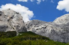 Granite mountains in the Cochamó Valley, Lakes Region of Southern Chile. The Cochamó valley in Chile`s Lakes region Los Lagos offers spectacular mountain stock images