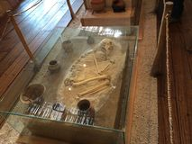 Cochasqui remains - skeleton. Cochasqui is an ancient very important complex of the Quitu-Caras, precolumbian civilization in Ecuador. Very close to Quito Royalty Free Stock Photography