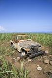 Coche abandonado en campo Fotografía de archivo libre de regalías