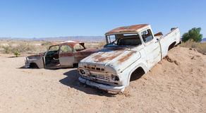 Coche abandonado en el desierto de Namib Imágenes de archivo libres de regalías