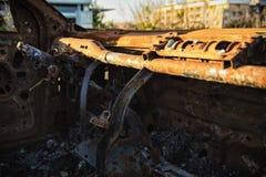 Coche abandonado interno Imagenes de archivo
