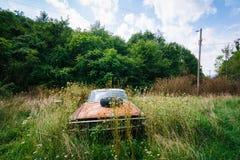 Coche abandonado, oxidado en el Shenandoah Valley rural, Virginia Fotografía de archivo libre de regalías