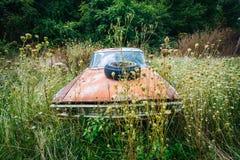 Coche abandonado, oxidado en el Shenandoah Valley rural, Virginia Foto de archivo