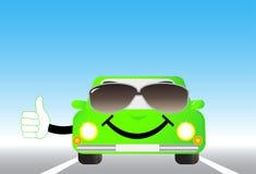 Coche alegre en el camino Foto de archivo libre de regalías