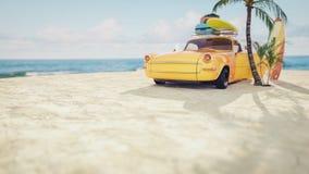 Coche amarillo clásico parqueado por el mar ilustración del vector
