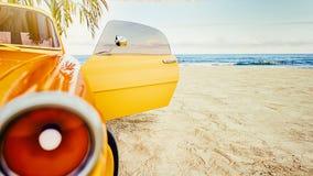 Coche amarillo clásico parqueado por el mar libre illustration