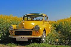 Coche amarillo de Morris Minor imagenes de archivo
