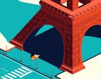 Coche amarillo debajo de la torre Eiffel Imagen de archivo