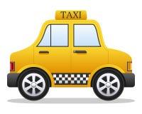 Coche amarillo del taxi de la historieta Imágenes de archivo libres de regalías