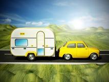 Coche amarillo del vintage en el camino con la caravana ilustración 3D Fotografía de archivo libre de regalías