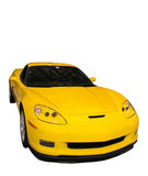 Coche amarillo deportivo aislado sobre blanco imagen de archivo
