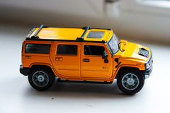 Coche amarillo Hummer del juguete Imágenes de archivo libres de regalías