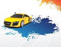Coche amarillo y chapoteo azul ilustración del vector